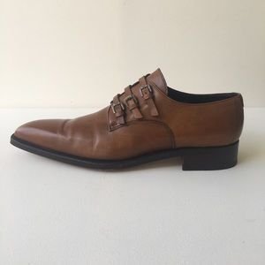 Sergio Rossi Brown Monk-Strap Leather Shoes